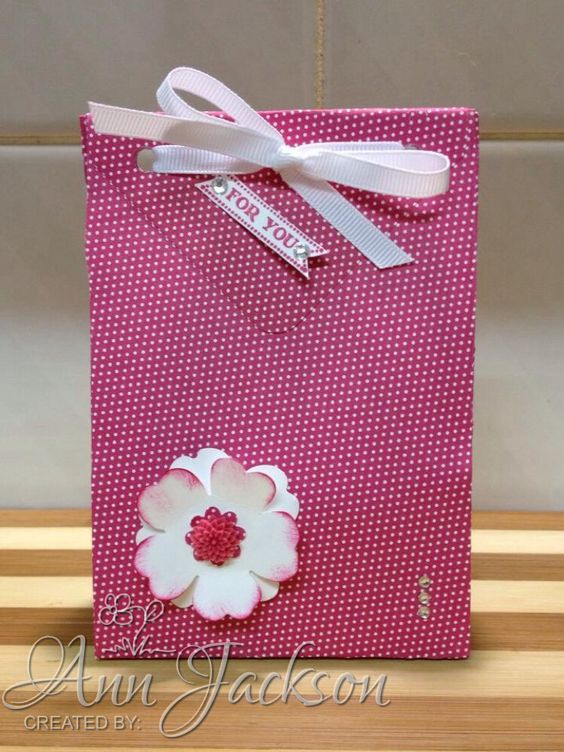 Gift bag using envelope punch board & Stampin Up pansy punch, using this technique from Pootles Papercraft - http://youtu.be/3JCXaiGuHqU
