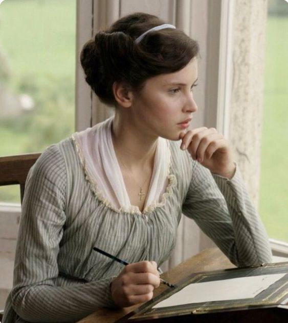 Northanger Abbey (2008). Catherine Morland (played by Felicity Jones)  Get all kinds of wonderful Jane Austen gifts and apparel at www.etsy.com/shop/pembertea   Subscribe to the first and only monthly Books, Tea and Jane Austen subscription box at www.pembertea.com