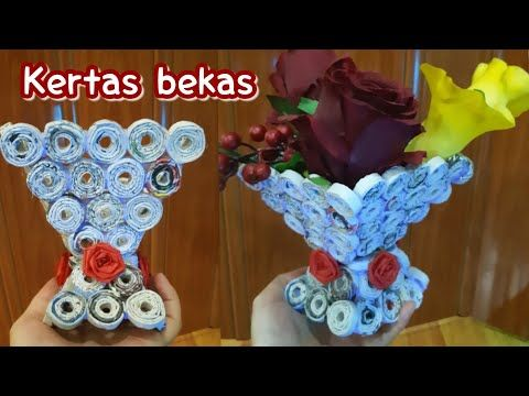 Ide Kreatif Kertas Bekas How To Make Basket Flowers Of Waste