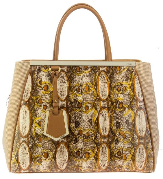 Fendi 2Jours Printed Snake and Canvas Tweed Tote Bag