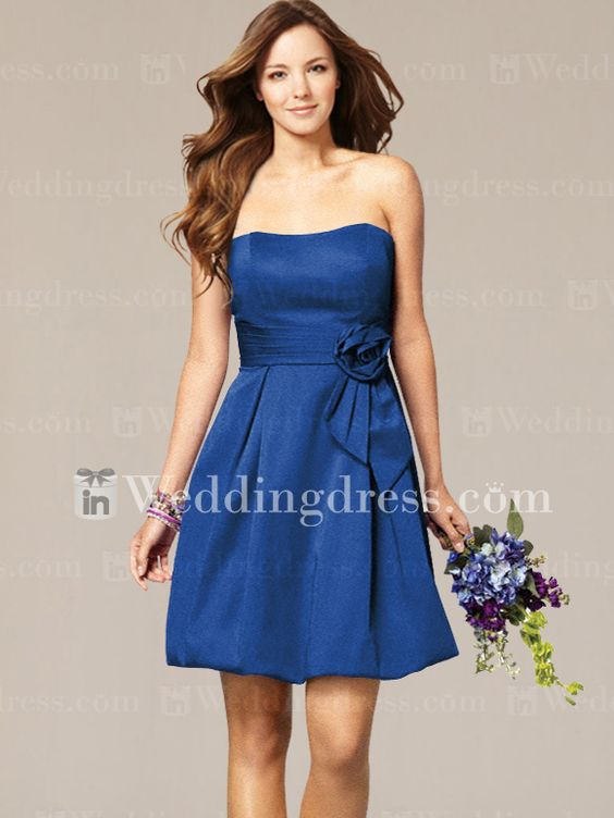 Short Strapless Wedding Party dress with Floral Sash BR198