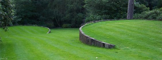 Tranquil - Earth [ Circular Lawned areas retained by Vertical Railway Sleepers]
