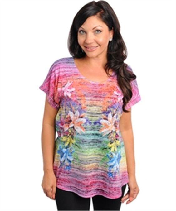 NEW Women's Multi Colored Floral Print Top Blouse Plus Size 3X