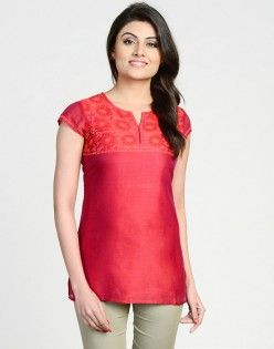Silk Cotton Chikankari Embroidered Short Kurta