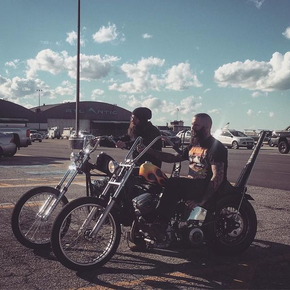 tikitodd:  Kat @starlasaz snagged this pic of Kerry @currysurr and me on our way into IX center for the @pistonpowershow #foreverthechaoslife #lowbrowcustoms #LWBRW #choppers #pistonpowershow #cleveland #chopmachine by mikeyrevolt http://ift.tt/1VdLdyT