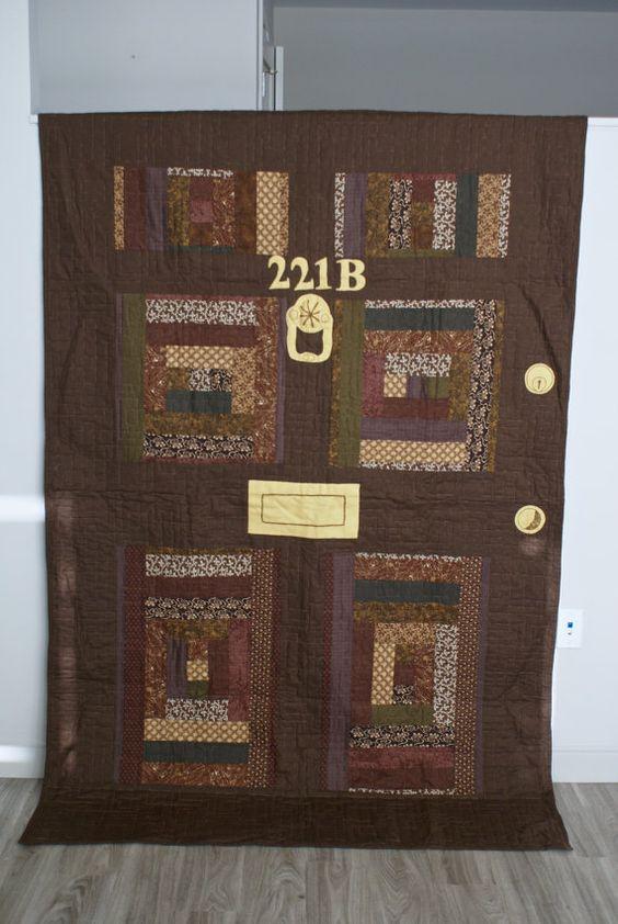 Sherlock 221B Baker Street Door Quilt