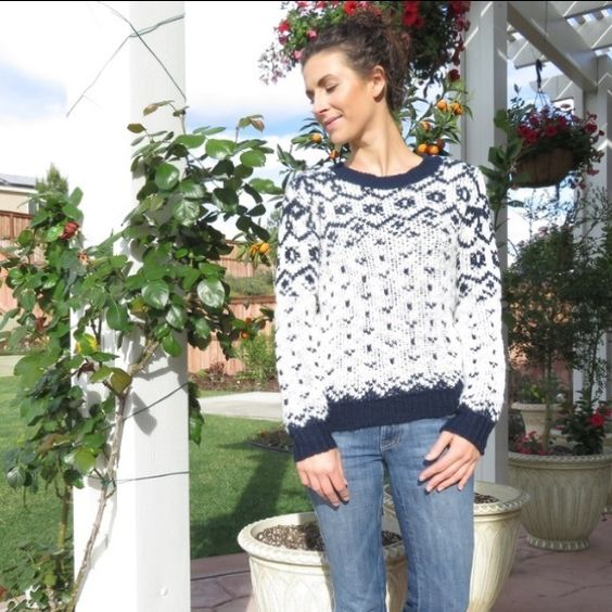Navy & White Winter Sweater This is a cozy and warm, winter wonderland sweater feature a snowflake pattern.  It is navy and white, knitted 100% Acrylic. Size small, fits true to size. Sweaters