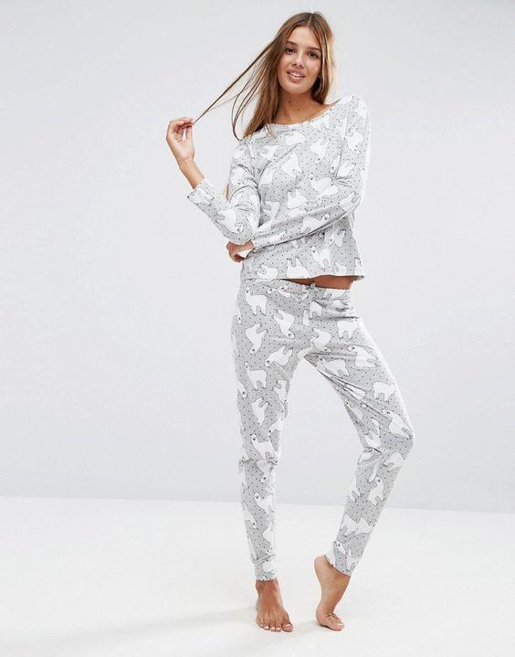 ASOS+Llama+Print+Long+Sleeve+T-Shirt+&+Legging+Pyjama+Set