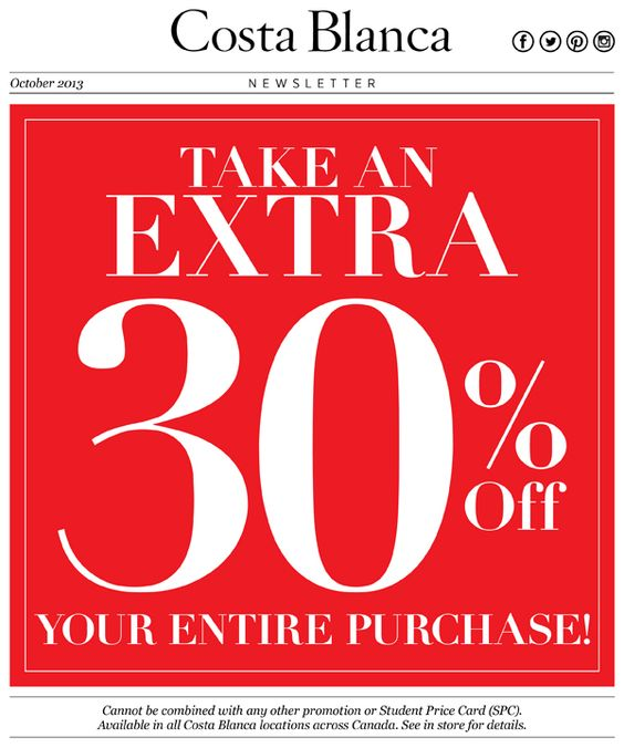 Head in today! Take and extra 30% off your entire purchase!