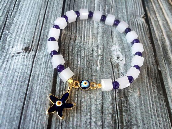 Evil Eye Bracelet, Beaded Bracelet, Crystal Bracelet, Square Cubes, Boho Bracelet, Elastic Bracelet