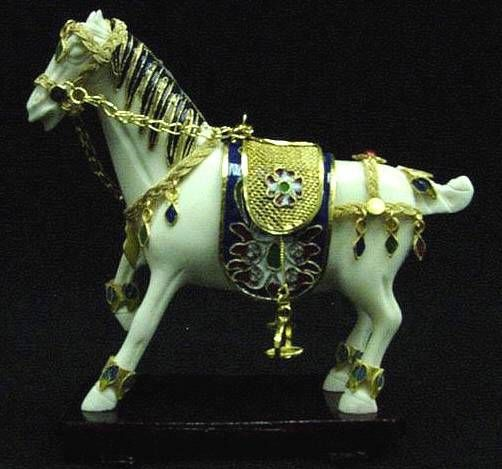 Bone Cloisonne Horse Carving with Gold Carved Saddle JSM