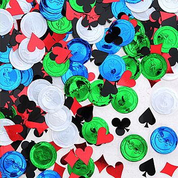 This Poker Party Confetti features metallic foil pieces that resemble poker chips, hearts, diamonds, spades and clubs.
