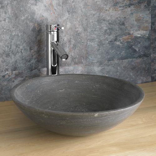 Black Countertop Basin Round Limestone Bathroom Sink 400mm Dia