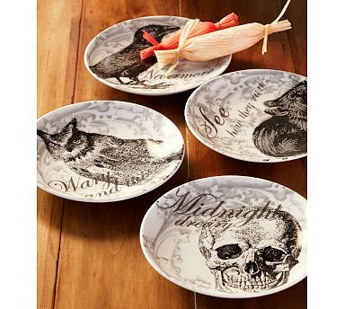 For Halloween decor - Curiosity Appetizer Plates, Set of 4 #potterybarn