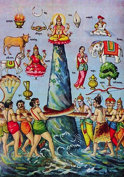 Indian Epics Resources: Image: Vasuki and the churning of the Ocean. You can see a list of the things produced at the churning of the Ocean at Wikipedia: http://en.wikipedia.org/wiki/Samudra_manthan:
