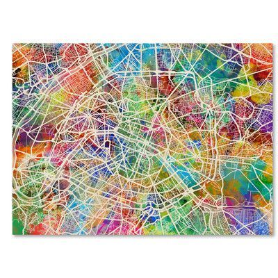 "Trademark Art Paris France Street Map by Michael Tompsett Graphic Art on Wrapped Canvas Size: 14"" H x 19"" W x 2"" D"