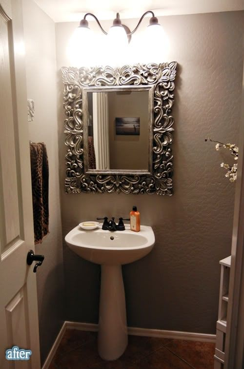 DIY Decorating (use a picture frame to frame bathroom mirror)