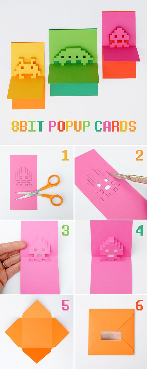 DIY 8-Bit Popup Cards Tutorial with FREE Printable Template