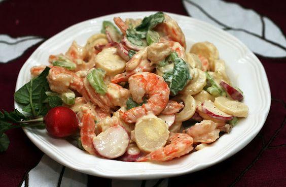 shrimp, radish and hearts of palm salad