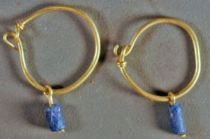 Roman Earrings - Gold with blue glass beads - 1st - 4th. Century C.E.: