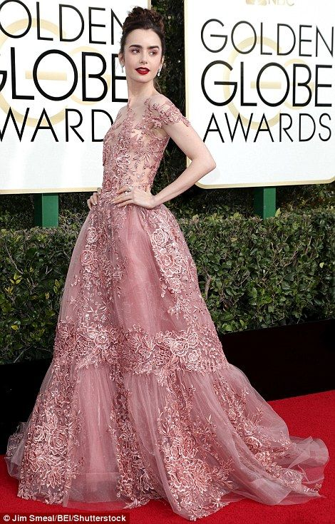 What a doll: Fashion plate Lily Collins had a princess moment in pink Zuhair Murad Couture...