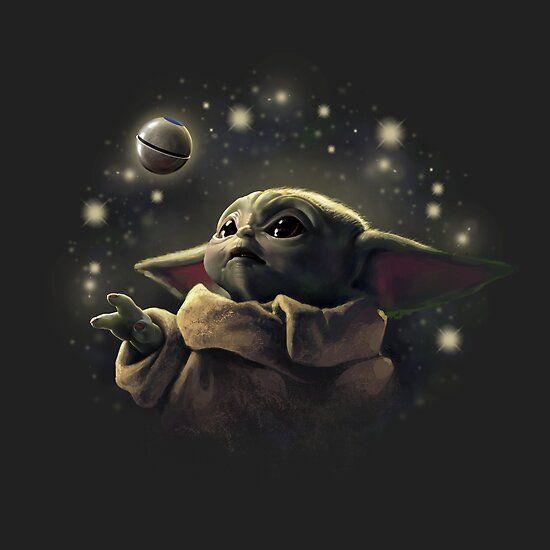The Baby With Ball Baby Yoda Funart Star Wars Wallpaper Star Wars Art Yoda Wallpaper