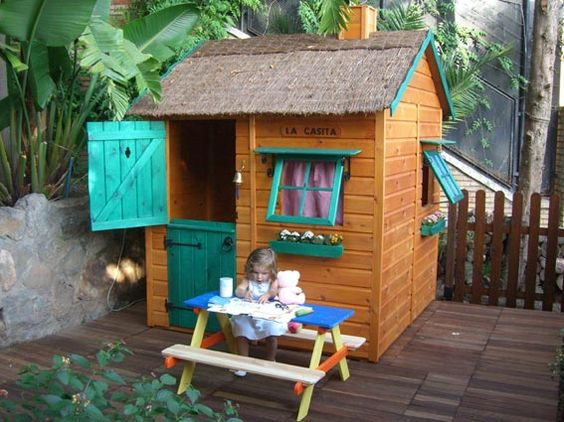 Casita de madera infantil modelo caba a from spain for Casa jardin ninos