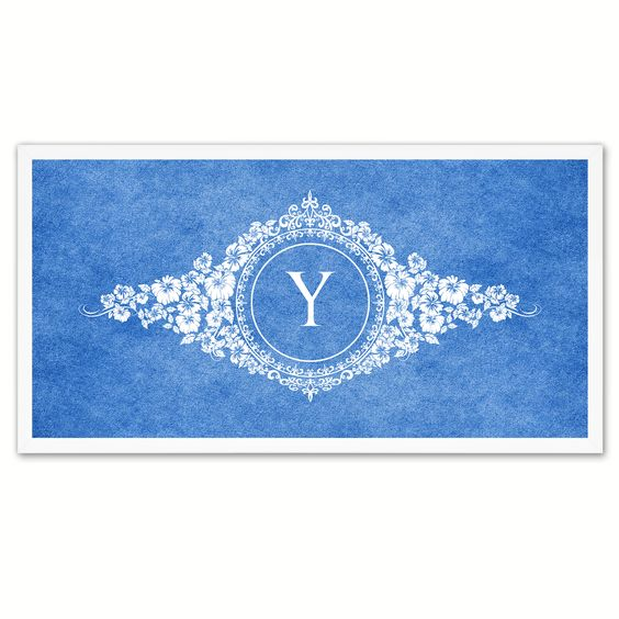 Alphabet Letter Y Blue Canvas Print White Frame Kids Bedroom Wall Décor Home Art