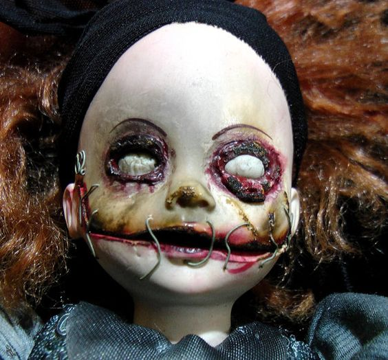 Undead Zombie Horror Doll Metal Stitched Mouth OOAK by triciakitty, $75.00: