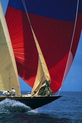 The 140-foot J Class sloop Velsheda drops the genoa during the Antigua Classic Yacht Regatta. Canon EOS 1v, 80-200mm lens, Fuji Velvia