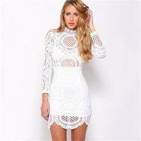 2016 Spring Summer New Brand Vintage Sexy Club Slim Bodycon Bandage Lace Long Sleeve Women Dress Evening Party Mini Dress