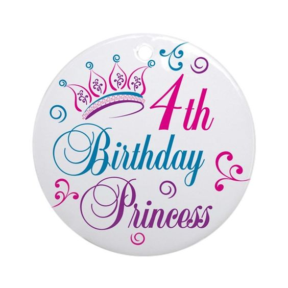 4th Birthday Princess t-shirts and gifts with a swirly tiara and colorful…