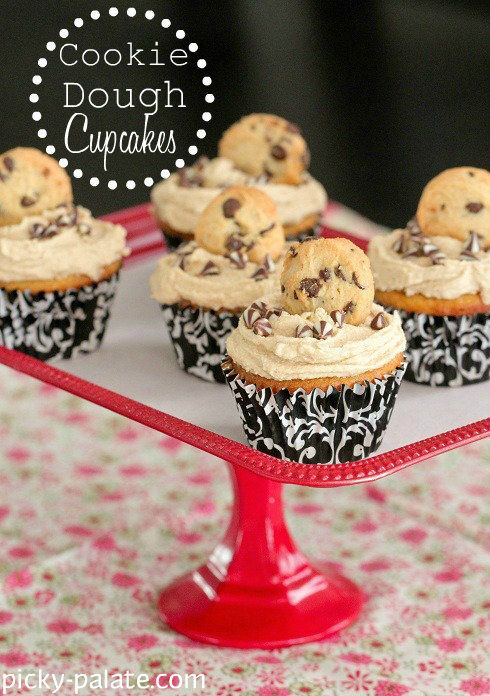 White Chocolate Cupcakes with Cookie Dough Frosting from @PickyPalate