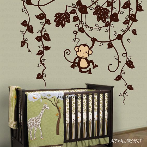 removable vinyl wall decal monkey in jungle b type with one monkey swinging monkey wall. Black Bedroom Furniture Sets. Home Design Ideas
