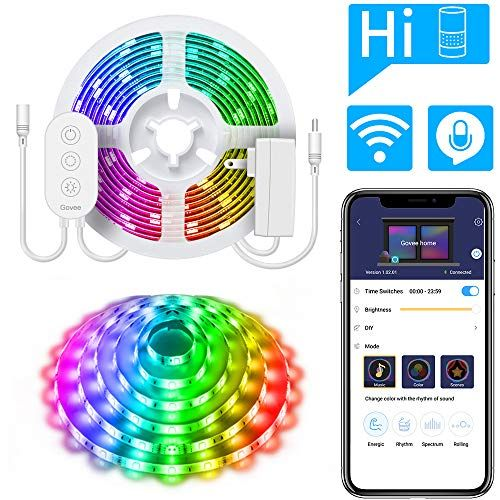 Govee Dreamcolor Led Strip Lights Compatible With Alexa Google Home Music Sync Waterproof Led Strip Lighting Strip Lighting Works With Alexa