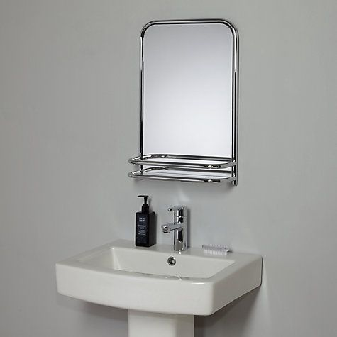 Restoration bathroom wall mirror with shelf linear for Bathroom remodel under 5 000