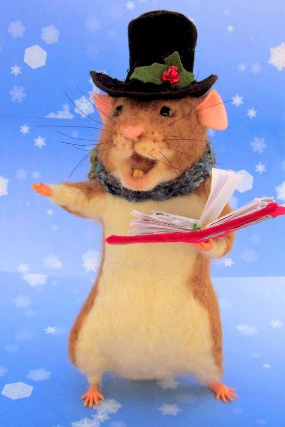 Needle Felted Art by Robin Joy Andreae: Dickens, the Christmas Caroling Rat