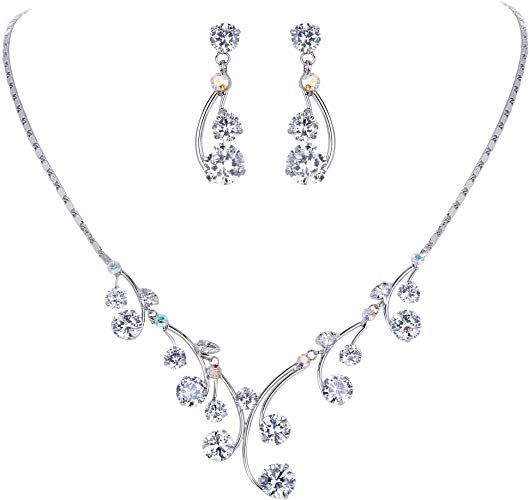 EleQueen Womens Cubic Zirconia Filigree Flower Bridal Necklace Earrings Jewelry Set Silver-Tone Full Clear