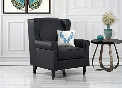 Divano Roma Furniture Classic Scroll Arm Faux Leather Accent Chair
