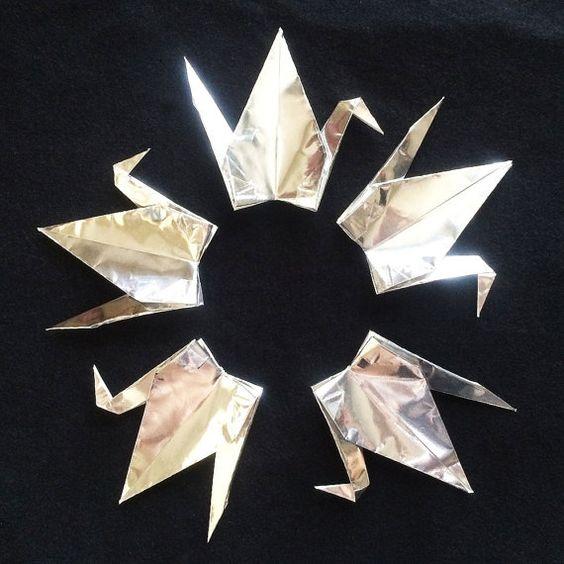 "1000 6"" Silver Origami Cranes (Senbazuru)"