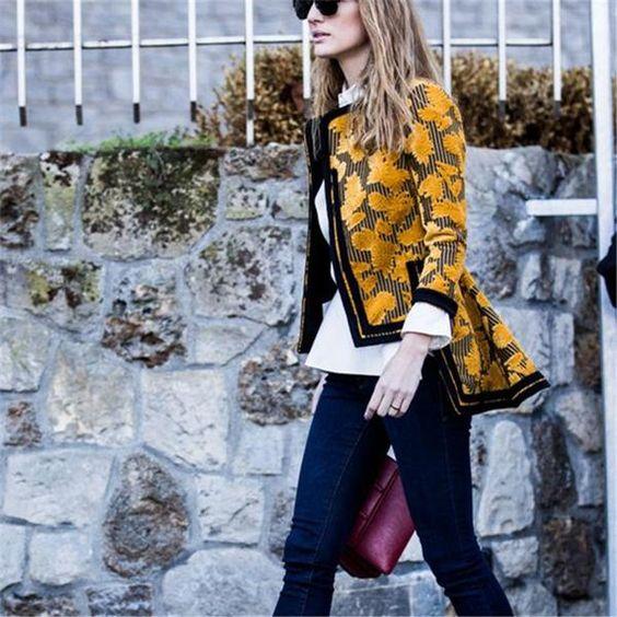 Autumn and winter fashion printing irregular jacket