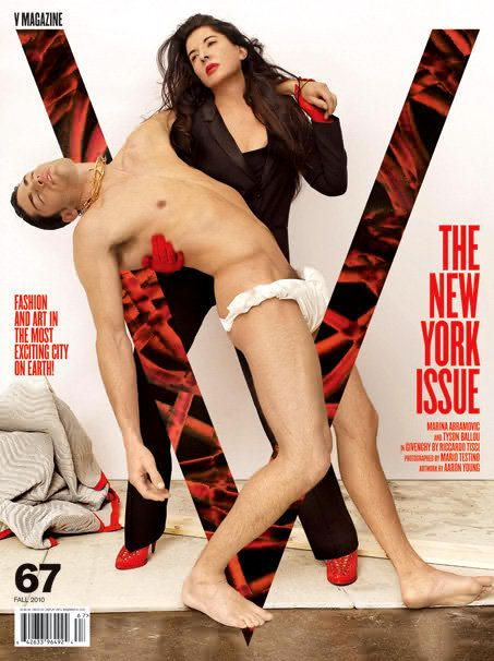 V67 Fall 2010 Tyson Ballou & Marina Abramovic by Mario Testino artwork by Aaron Young