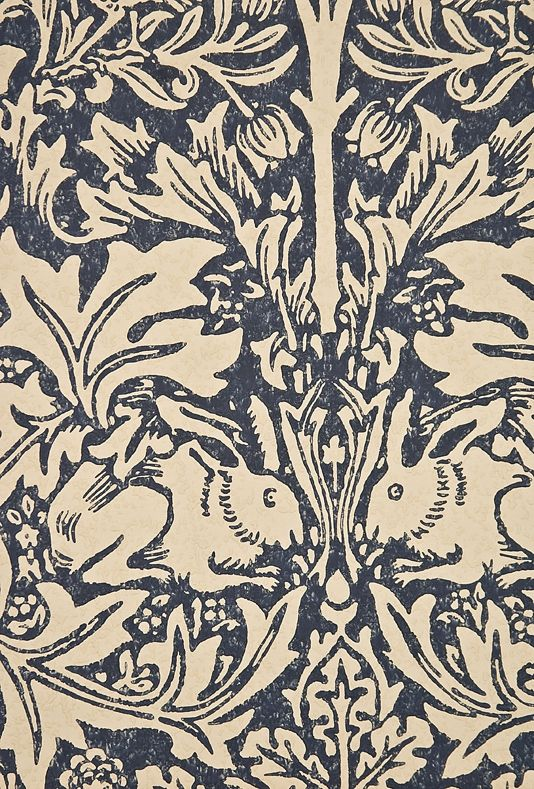 Brer Rabbit Wallpaper Classic William Morris Floral and Animal print, in Blue and Cream