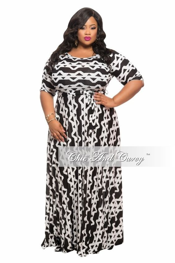 Plus Size Long Dress w/ 3/4 Sleeve, Side Pockets, and Tie in  Black and White Print - Chic And Curvy