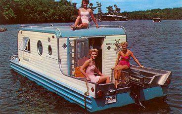vintage houseboat w/ bathing beauties