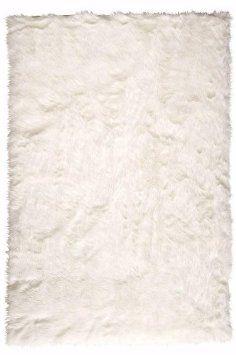 Faux Sheepskin Area Rug, 4'X6', White