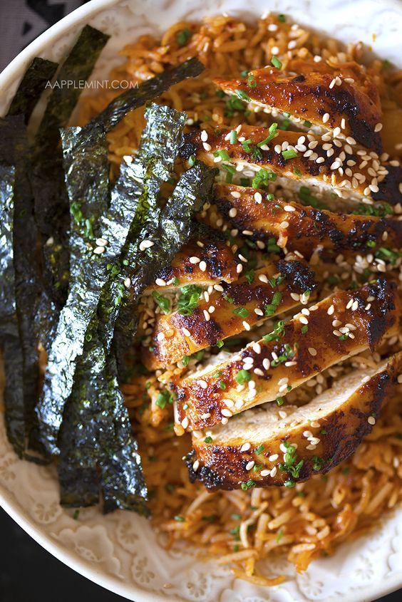 Korean Kimchi Rice + Spicy Chicken ...