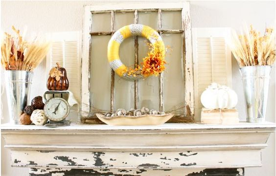 "You can't go wrong with a : <span style=""text-decoration: underline;""><strong><a href=""http://decorchick.com/fall-mantel-decor/"">Distressed window on your Fall Mantel</a></strong></span>"