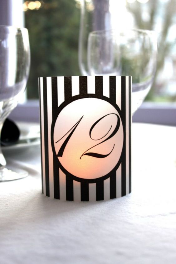 Black and White Stripe Printable Table Number by ThePoshEvent