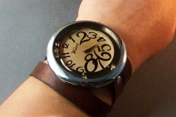 Leather Watch  Antique Brass by 4MLeatherDesign on Etsy, $62.00